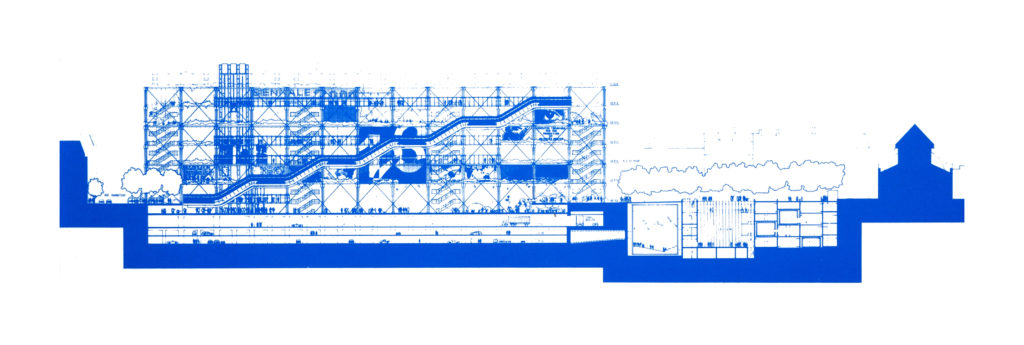 Centre Georges Pompidou competition drawing