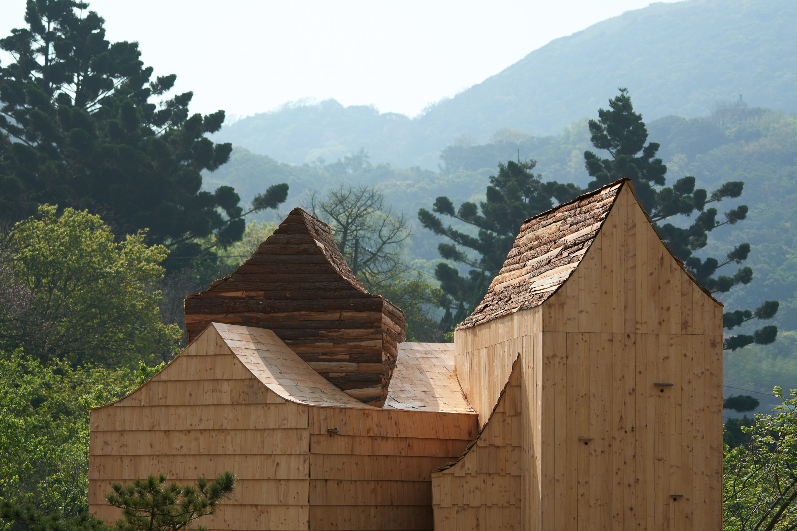 concave rooflines emphasize the various axes and complex geometry