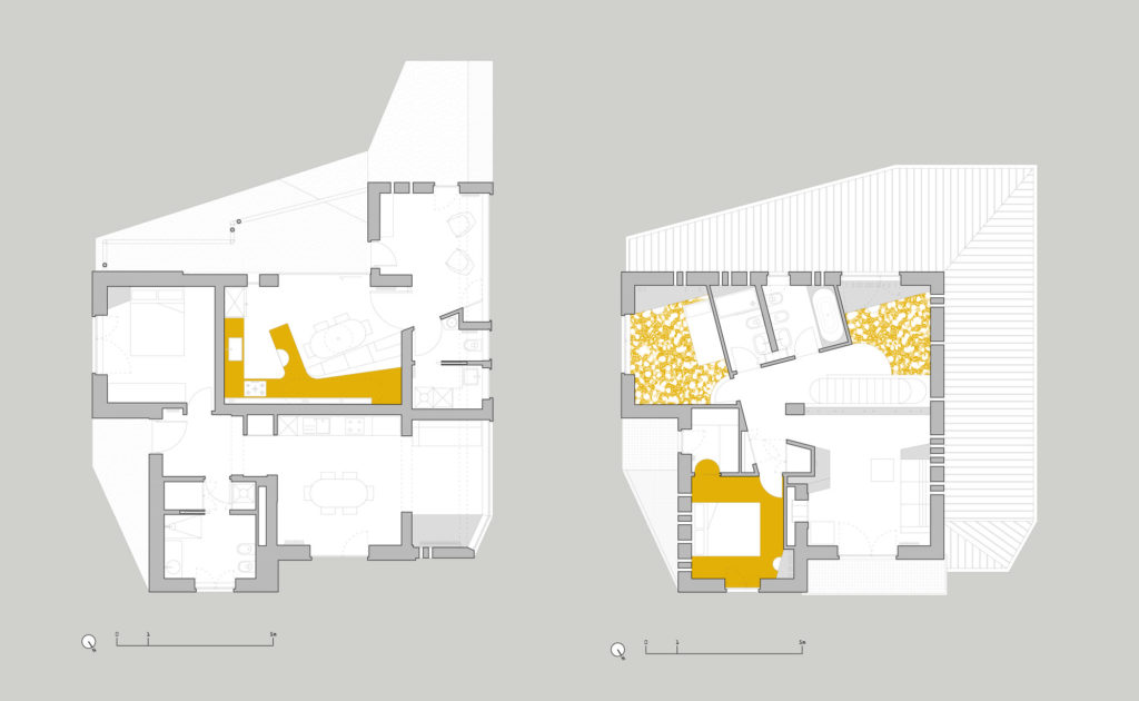 Splashes of yellow throughout the house—on the landing, door frames, and bathroom—complement the goldenrod terrazzo floors.
