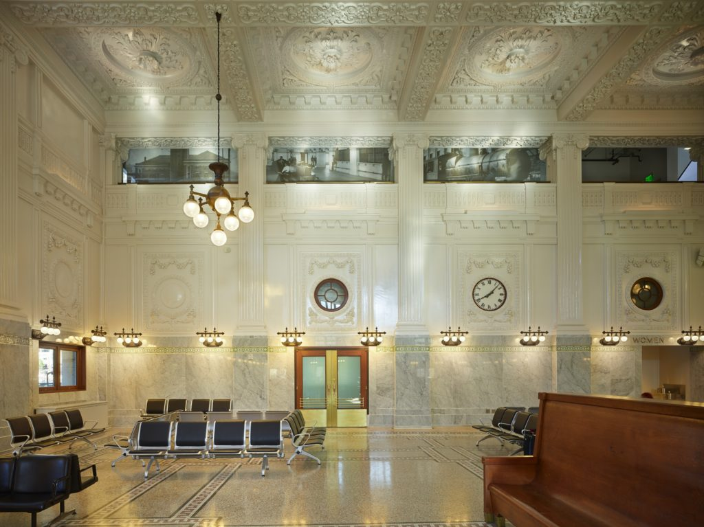 The terrazzo and mosaic floors are on full display in this 1906 restoration, a reminder of the longevity and vitality of this material.