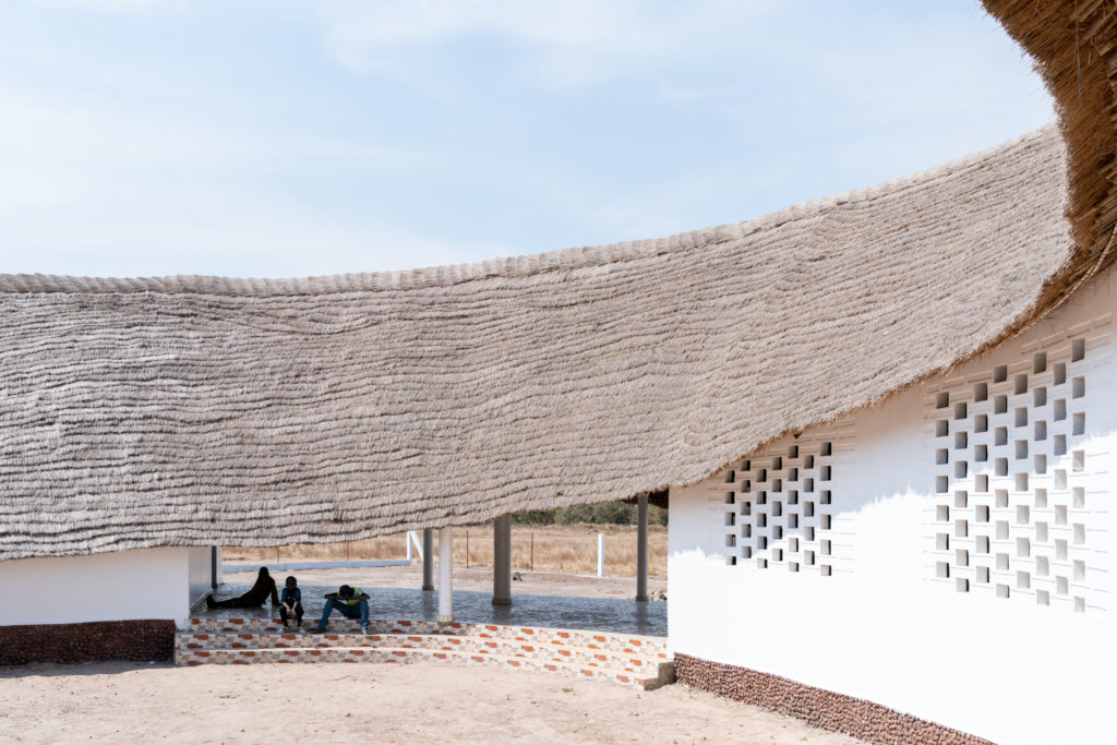 Thatched roof of Toshiko Mori's Fass School